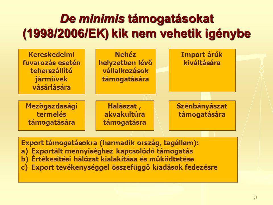 De minimis támogatásokat (1998/2006/EK) kik nem vehetik igénybe
