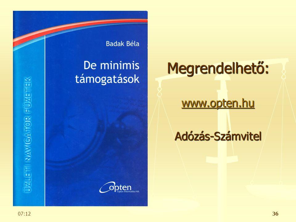 Megrendelhető: www.opten.hu Adózás-Számvitel Badak Audit Kft.