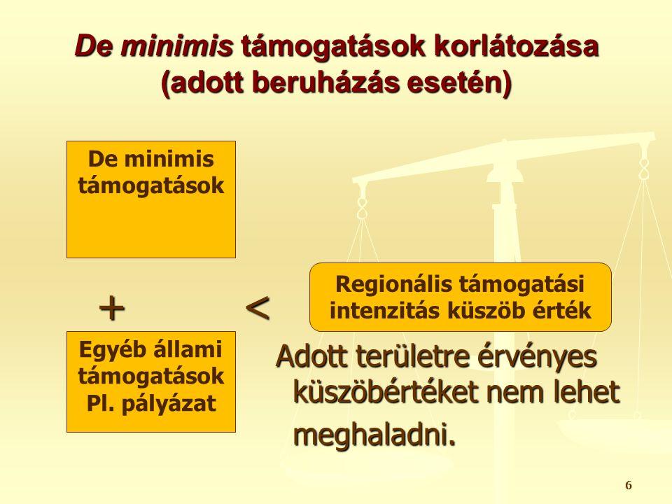 De minimis támogatások korlátozása (adott beruházás esetén)