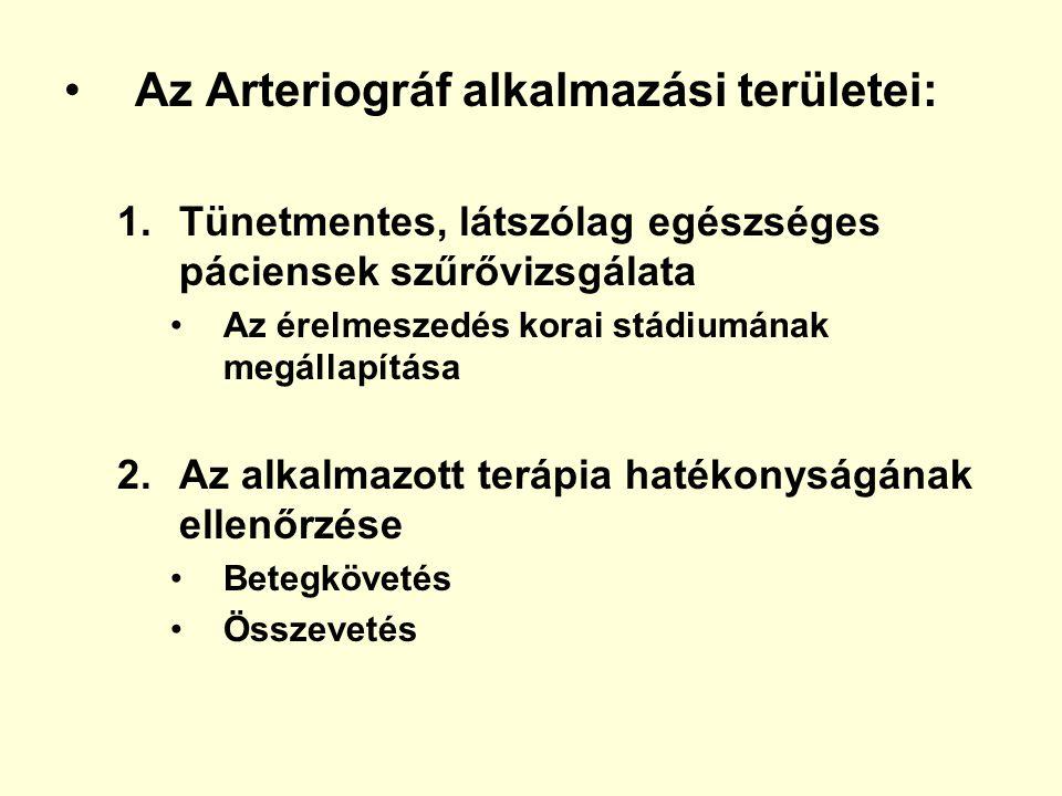 Az Arteriográf alkalmazási területei: