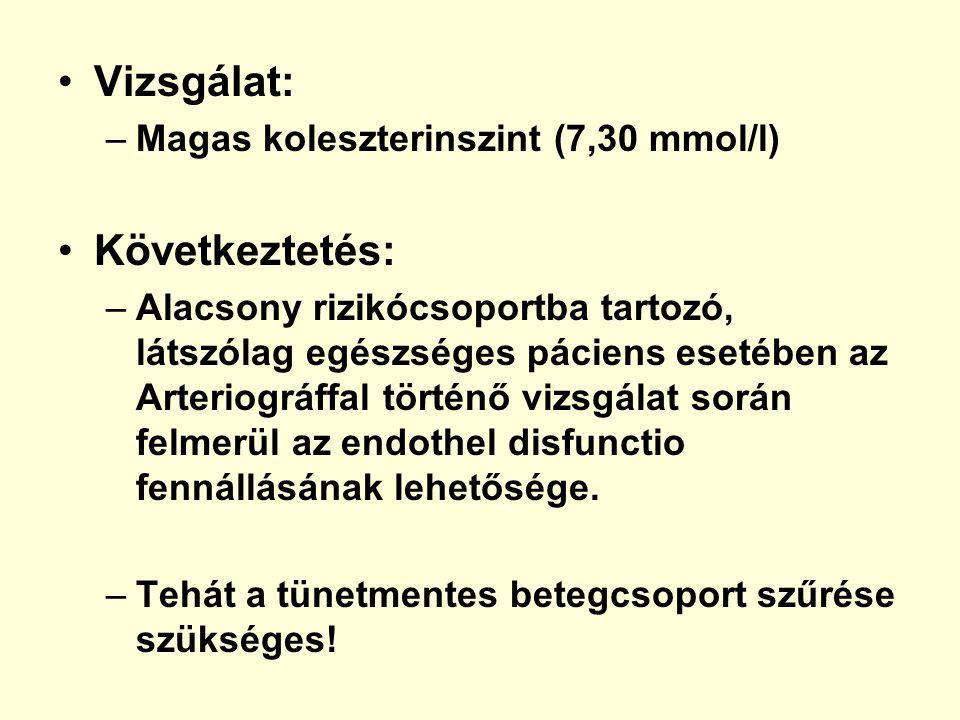 Vizsgálat: Következtetés: Magas koleszterinszint (7,30 mmol/l)