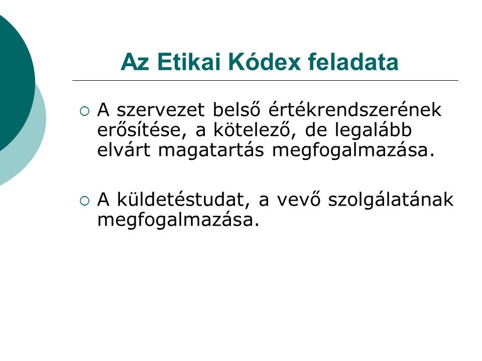 Az Etikai Kódex feladata