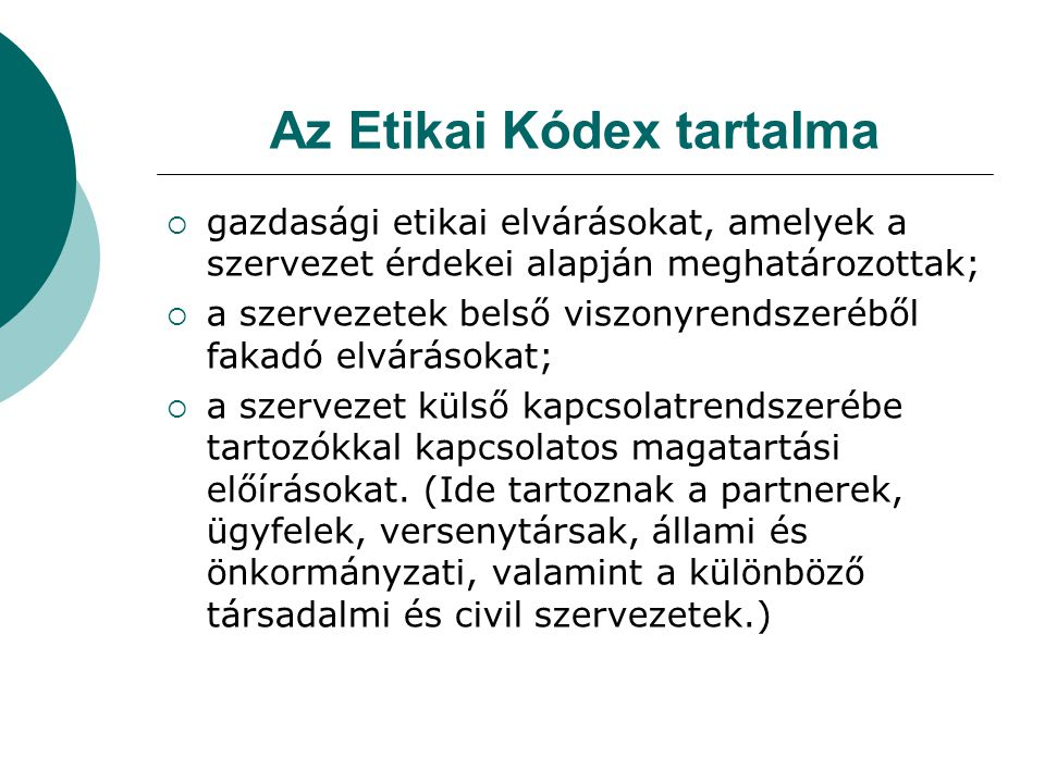 Az Etikai Kódex tartalma