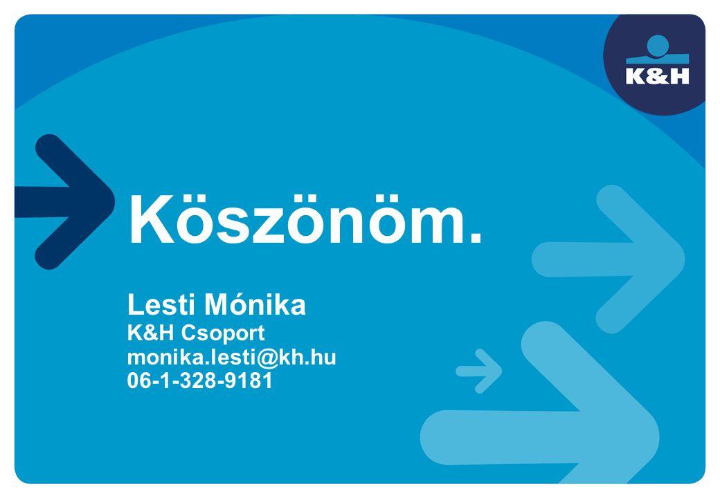 Köszönöm. Lesti Mónika K&H Csoport monika.lesti@kh.hu 06-1-328-9181