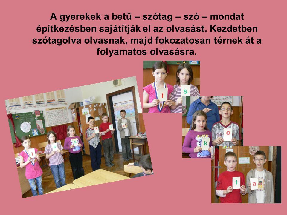 A gyerekek a betű – szótag – szó – mondat építkezésben sajátítják el az olvasást.
