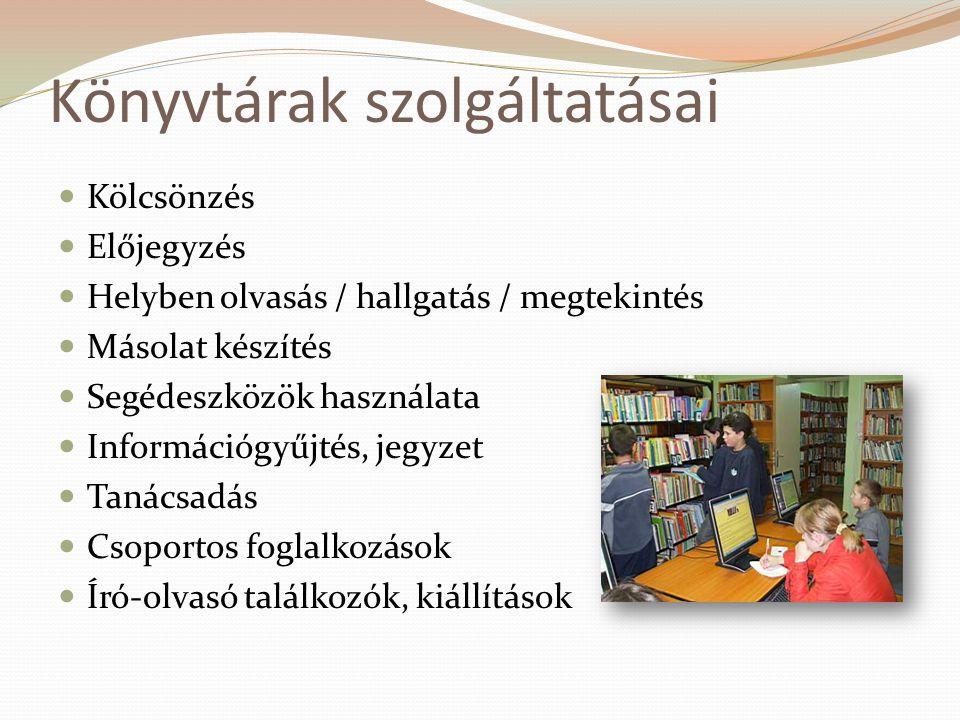 Könyvtárak szolgáltatásai