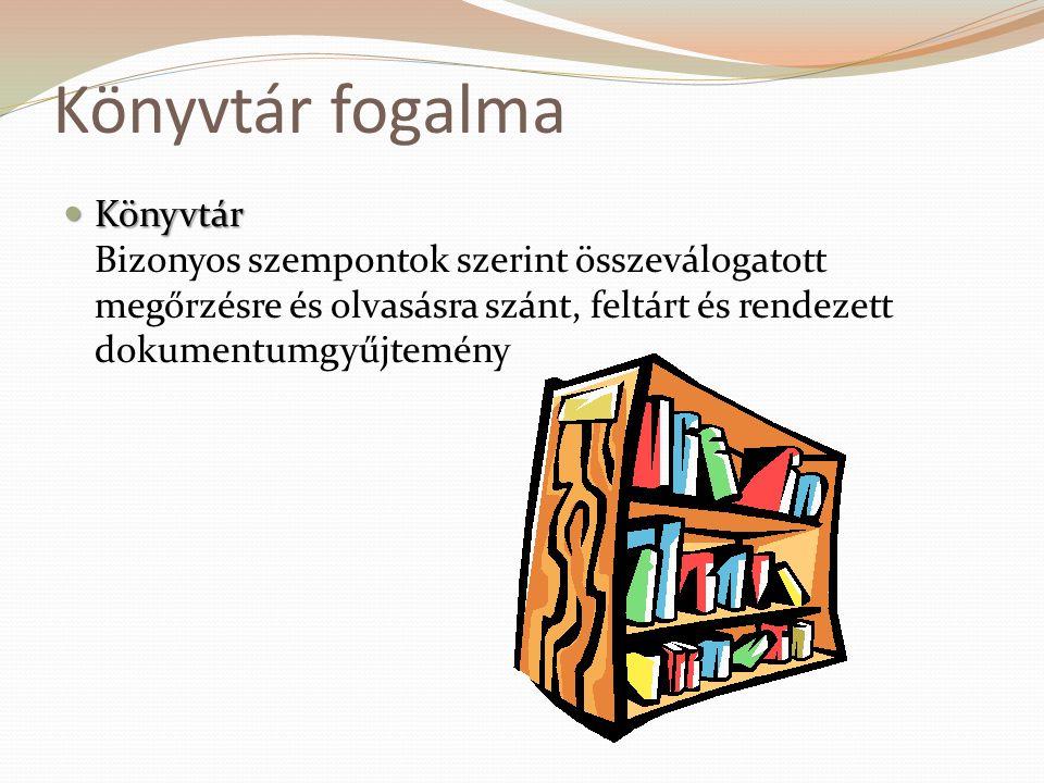 Könyvtár fogalma Könyvtár Bizonyos szempontok szerint összeválogatott megőrzésre és olvasásra szánt, feltárt és rendezett dokumentumgyűjtemény.