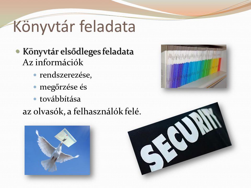 Könyvtár feladata Könyvtár elsődleges feladata Az információk
