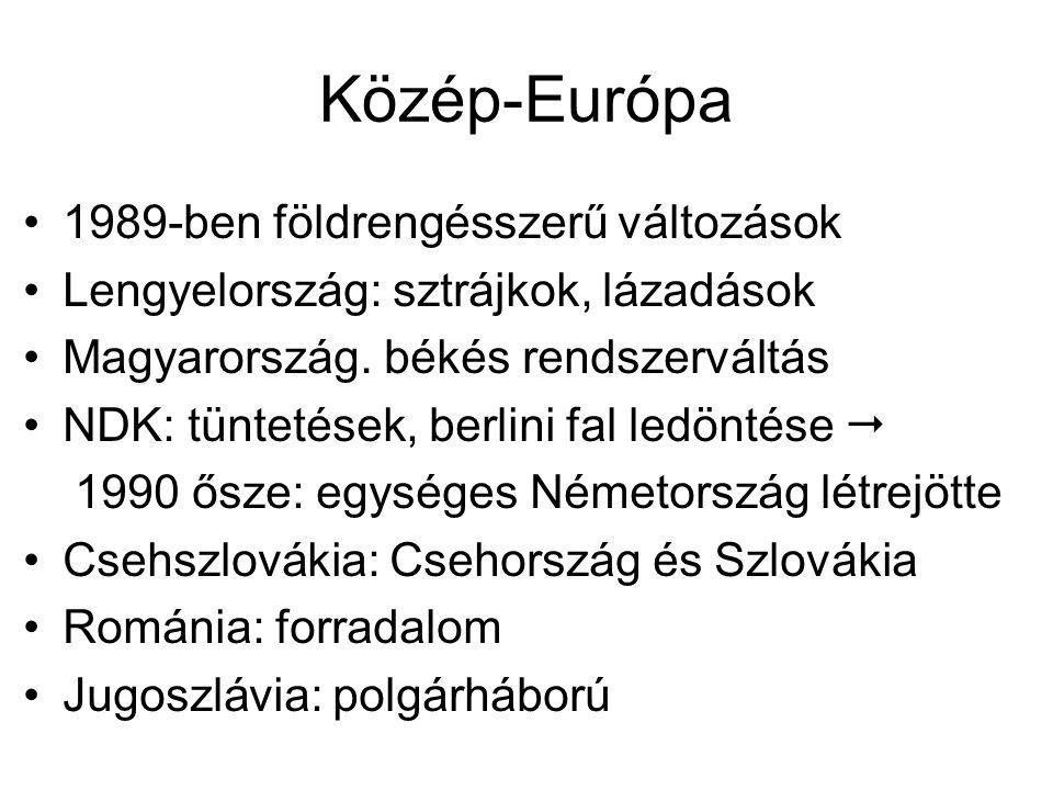 Közép-Európa 1989-ben földrengésszerű változások