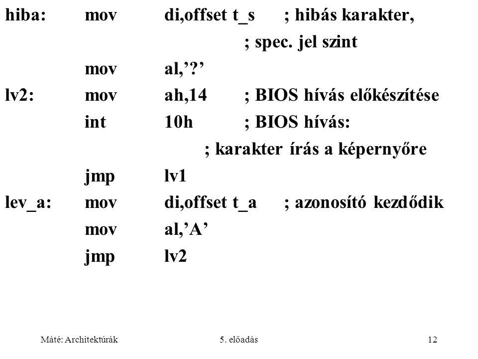 hiba: mov di,offset t_s ; hibás karakter, ; spec. jel szint mov al,' '