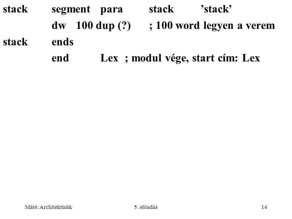 stack segment para stack 'stack'