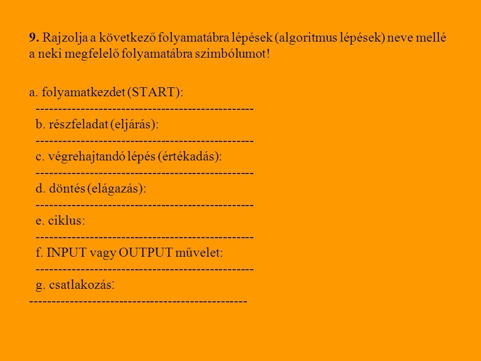 9. Rajzolja a következő folyamatábra lépések (algoritmus lépések) neve mellé a neki megfelelő folyamatábra szimbólumot!