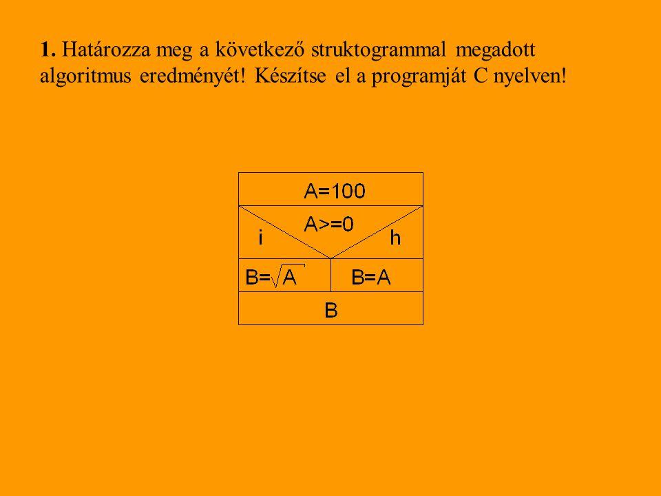 1. Határozza meg a következő struktogrammal megadott algoritmus eredményét.