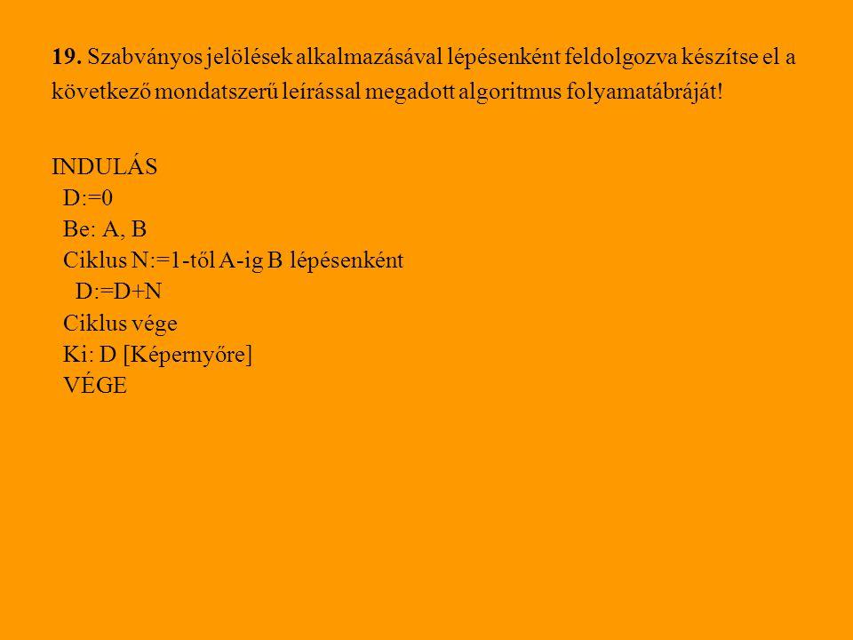 19. Szabványos jelölések alkalmazásával lépésenként feldolgozva készítse el a következő mondatszerű leírással megadott algoritmus folyamatábráját!