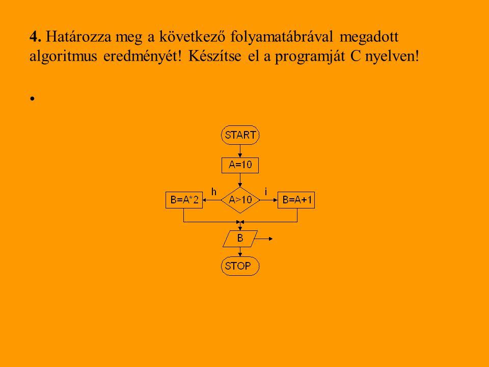 4. Határozza meg a következő folyamatábrával megadott algoritmus eredményét.
