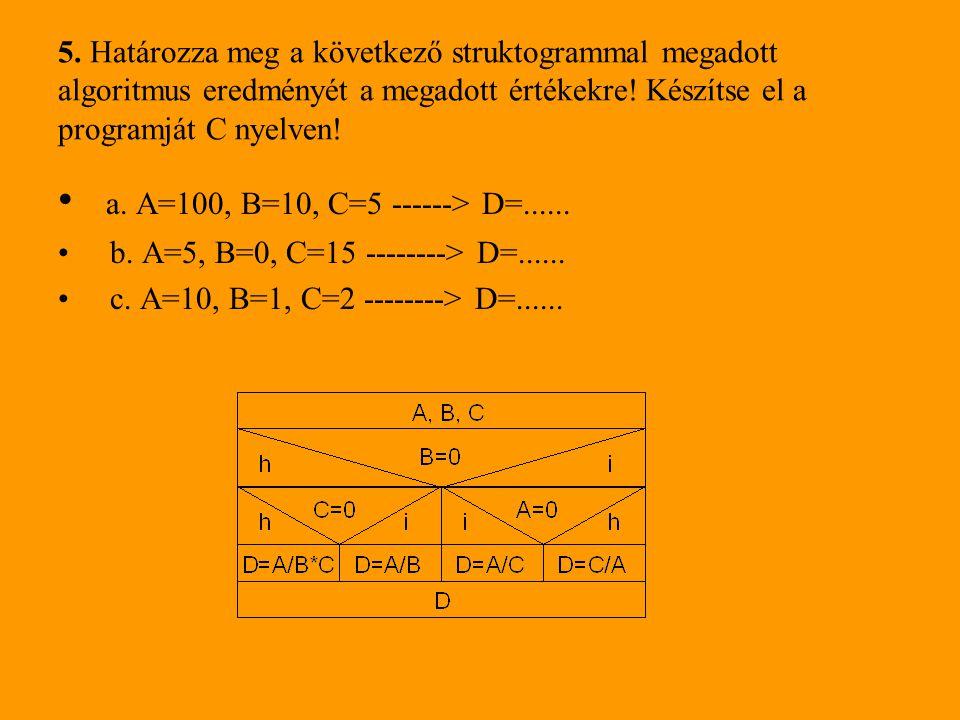5. Határozza meg a következő struktogrammal megadott algoritmus eredményét a megadott értékekre! Készítse el a programját C nyelven!