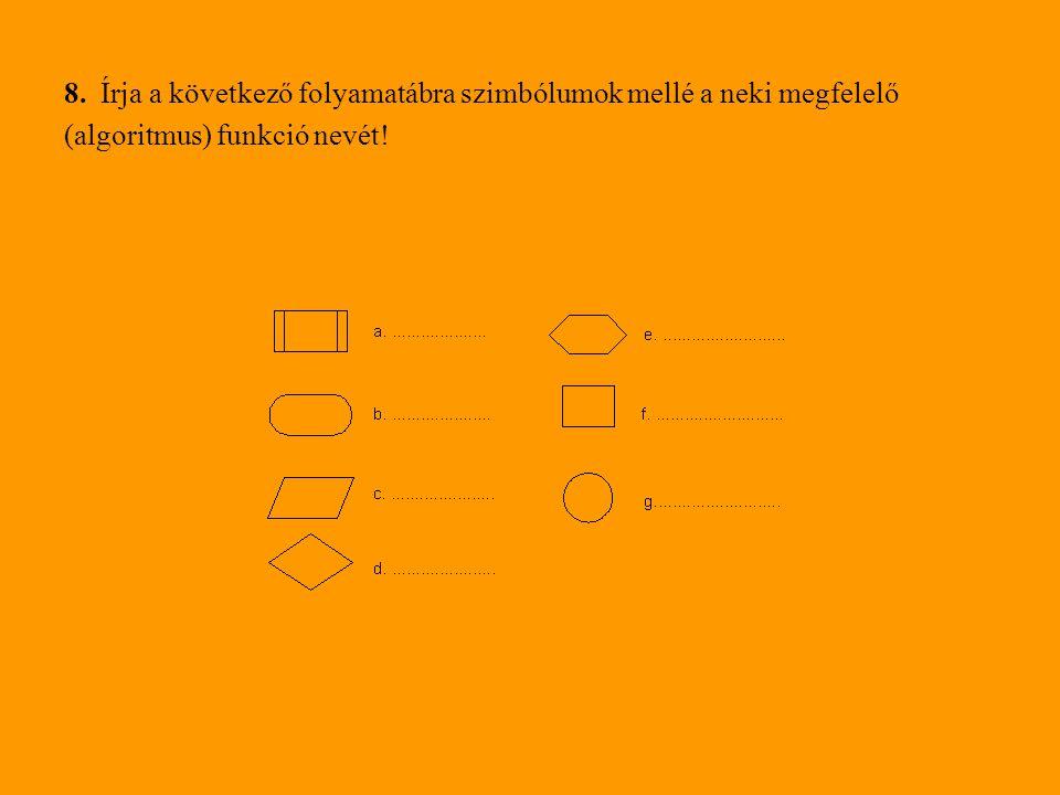 8. Írja a következő folyamatábra szimbólumok mellé a neki megfelelő (algoritmus) funkció nevét!