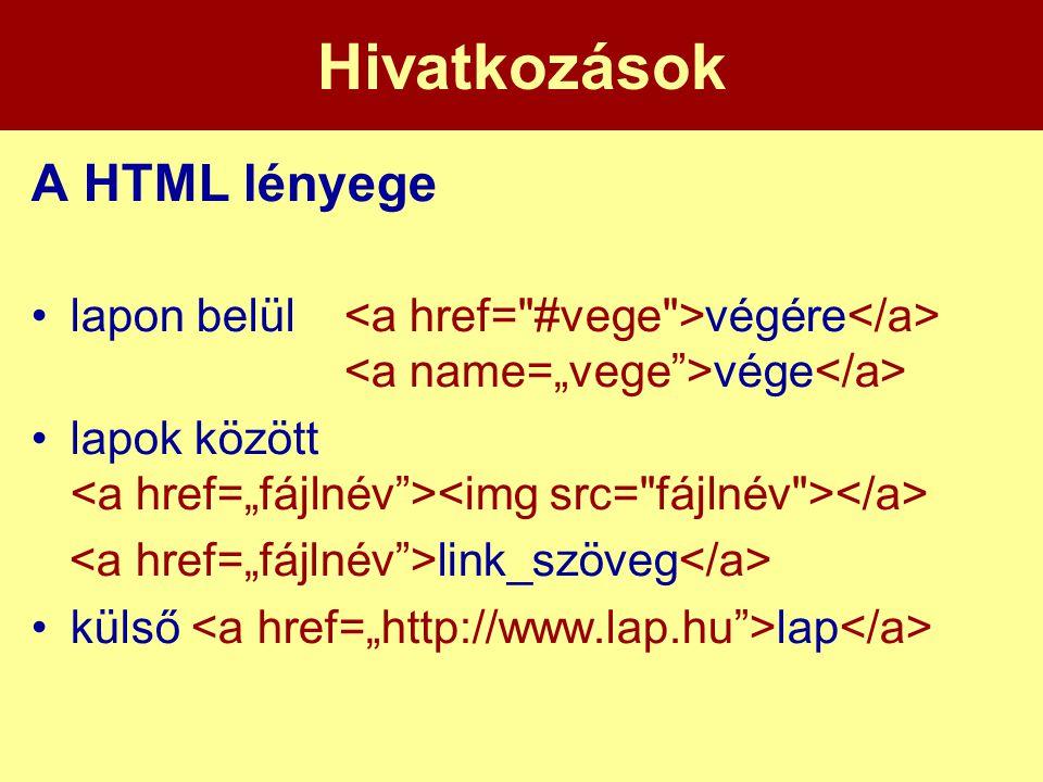 Hivatkozások A HTML lényege
