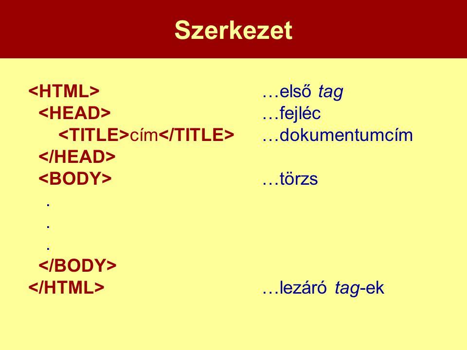 Szerkezet <HTML> …első tag <HEAD> …fejléc