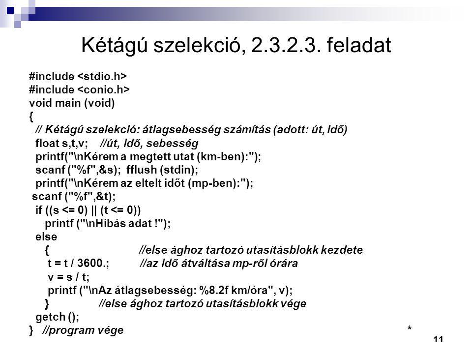 Kétágú szelekció, 2.3.2.3. feladat