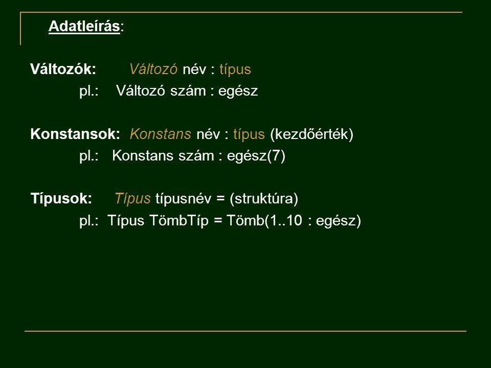Adatleírás: Változók: Változó név : típus. pl.: Változó szám : egész. Konstansok: Konstans név : típus (kezdőérték)