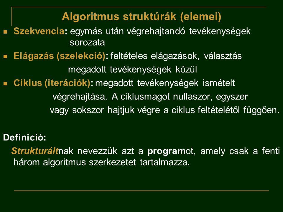Algoritmus struktúrák (elemei)