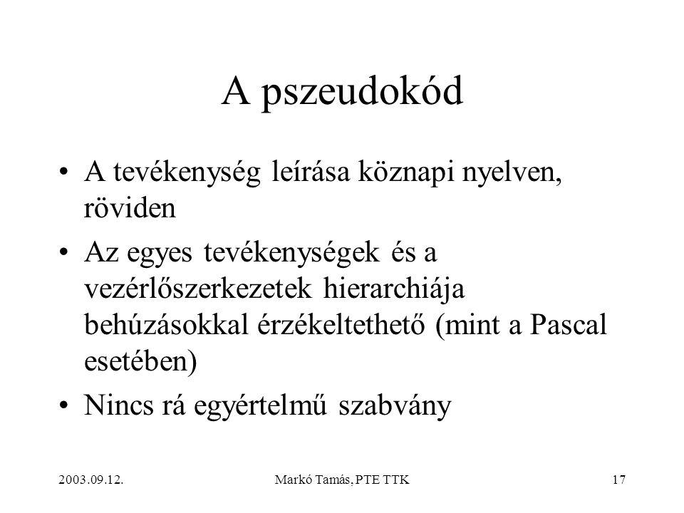 A pszeudokód A tevékenység leírása köznapi nyelven, röviden