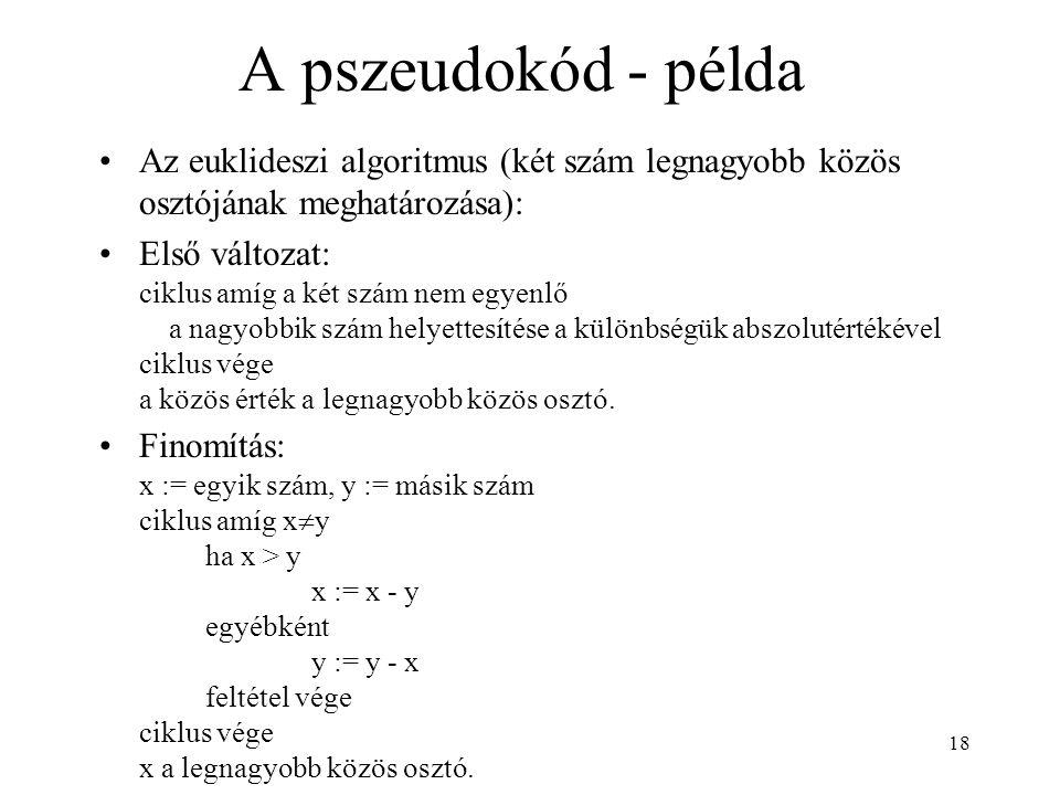 A pszeudokód - példa Az euklideszi algoritmus (két szám legnagyobb közös osztójának meghatározása):