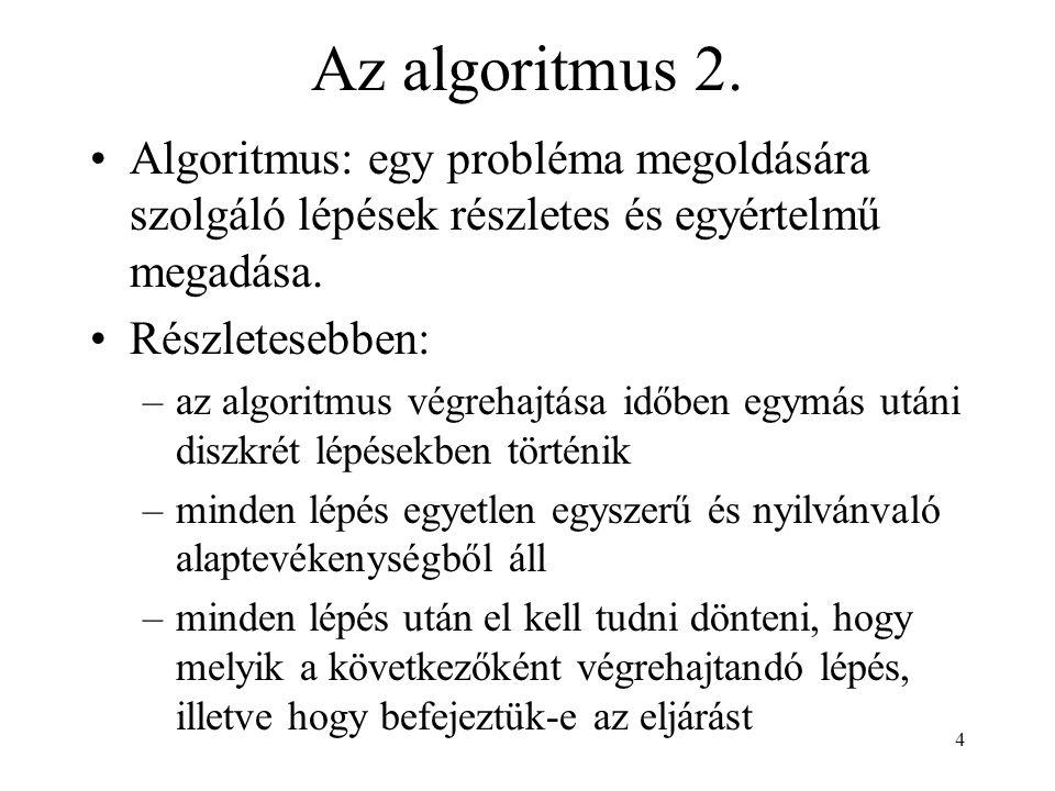 Az algoritmus 2. Algoritmus: egy probléma megoldására szolgáló lépések részletes és egyértelmű megadása.