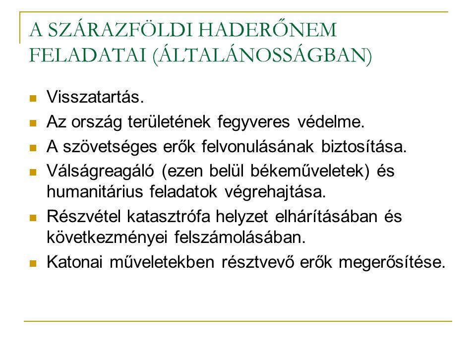 A SZÁRAZFÖLDI HADERŐNEM FELADATAI (ÁLTALÁNOSSÁGBAN)