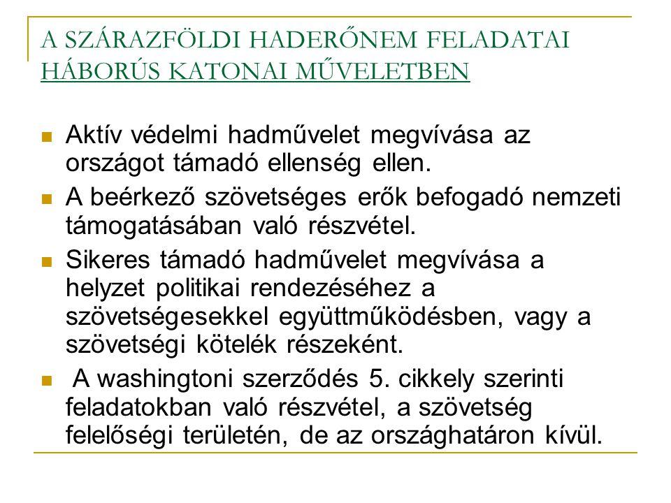 A SZÁRAZFÖLDI HADERŐNEM FELADATAI HÁBORÚS KATONAI MŰVELETBEN