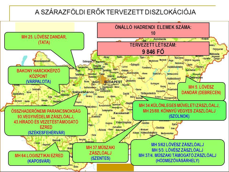9 846 FŐ A SZÁRAZFÖLDI ERŐK TERVEZETT DISZLOKÁCIÓJA