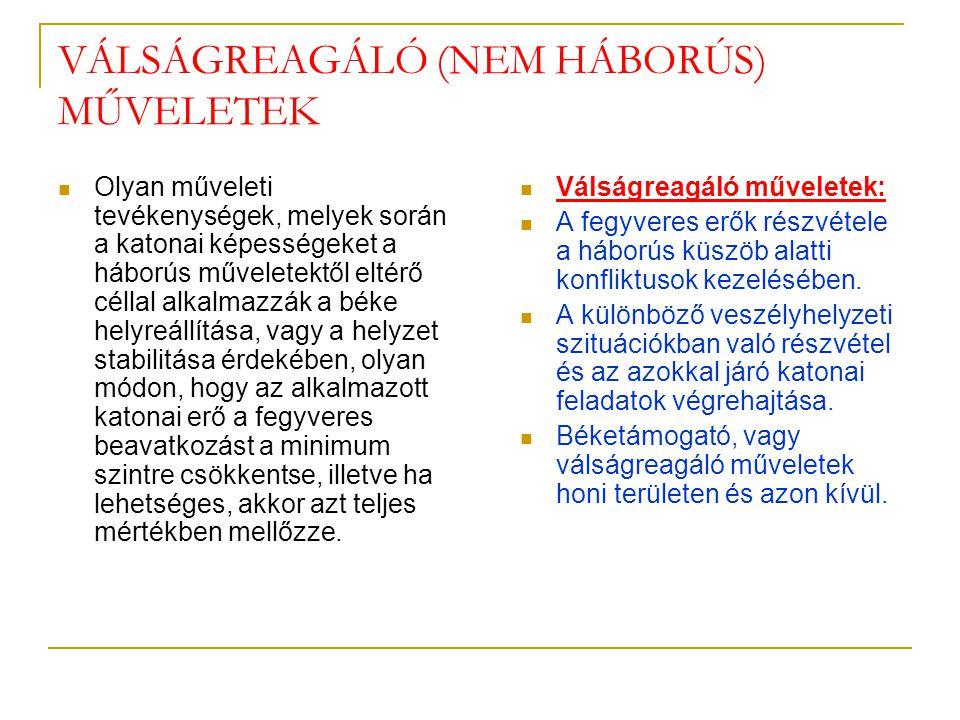 VÁLSÁGREAGÁLÓ (NEM HÁBORÚS) MŰVELETEK