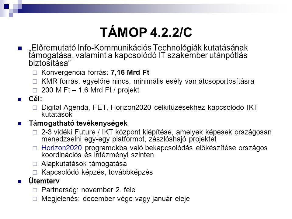 """TÁMOP 4.2.2/C """"Előremutató Info-Kommunikációs Technológiák kutatásának támogatása, valamint a kapcsolódó IT szakember utánpótlás biztosítása"""