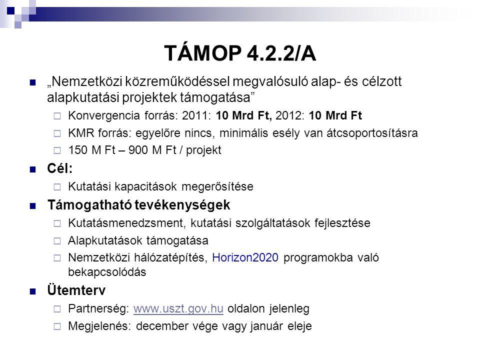 """TÁMOP 4.2.2/A """"Nemzetközi közreműködéssel megvalósuló alap- és célzott alapkutatási projektek támogatása"""