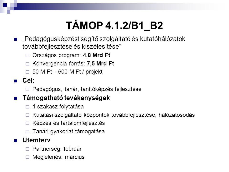 """TÁMOP 4.1.2/B1_B2 """"Pedagógusképzést segítő szolgáltató és kutatóhálózatok továbbfejlesztése és kiszélesítése"""
