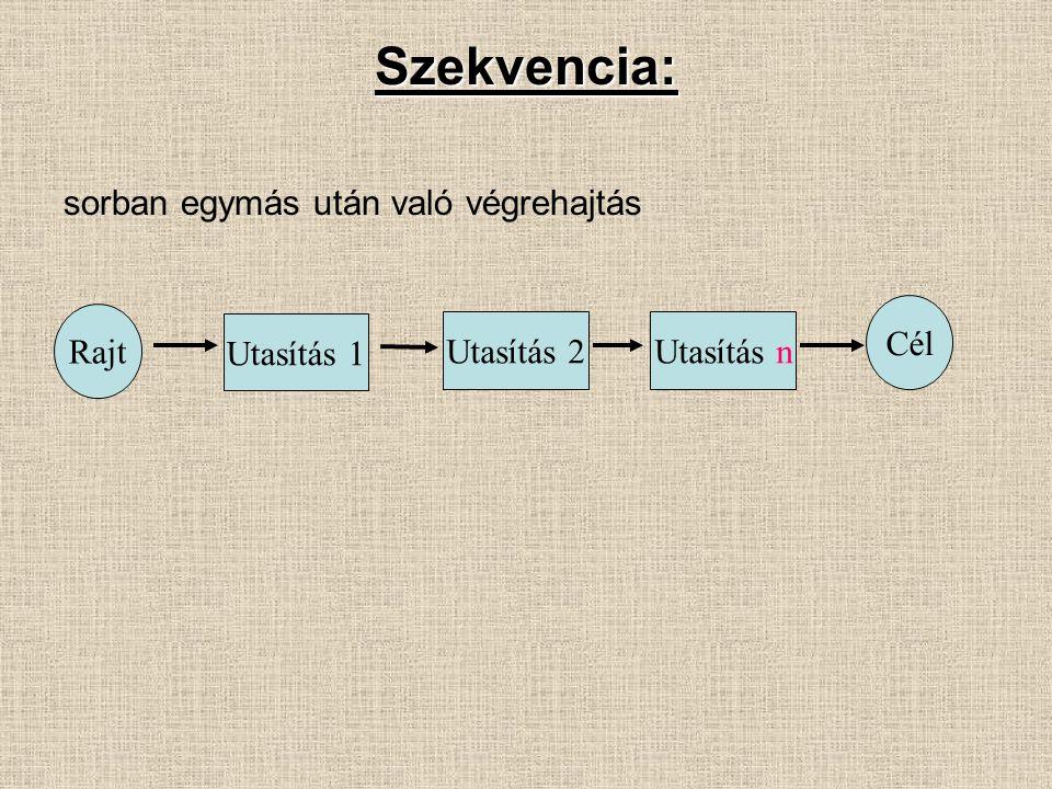 Szekvencia: sorban egymás után való végrehajtás Cél Rajt Utasítás 1