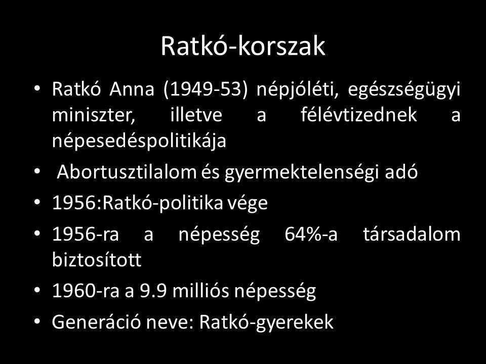 Ratkó-korszak Ratkó Anna (1949-53) népjóléti, egészségügyi miniszter, illetve a félévtizednek a népesedéspolitikája.