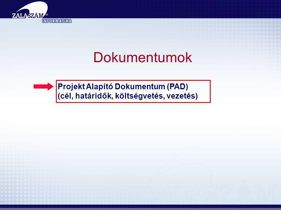 Dokumentumok Projekt Alapító Dokumentum (PAD)