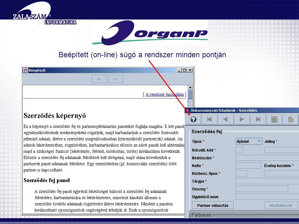 Beépített (on-line) súgó a rendszer minden pontján