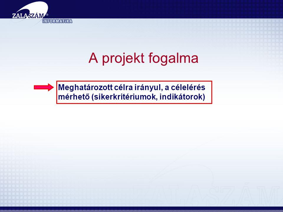 A projekt fogalma Meghatározott célra irányul, a célelérés mérhető (sikerkritériumok, indikátorok)