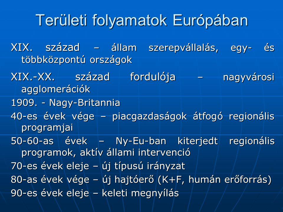 Területi folyamatok Európában