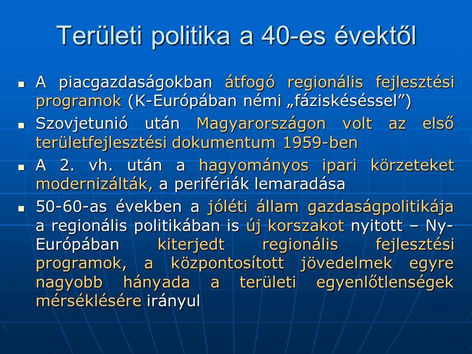 Területi politika a 40-es évektől