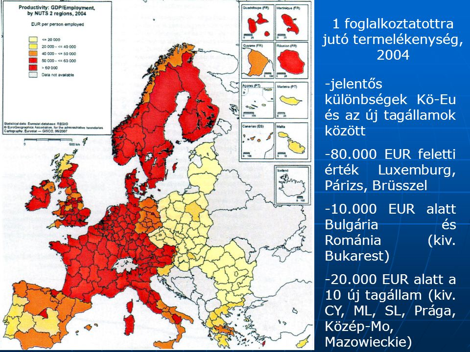 1 foglalkoztatottra jutó termelékenység, 2004