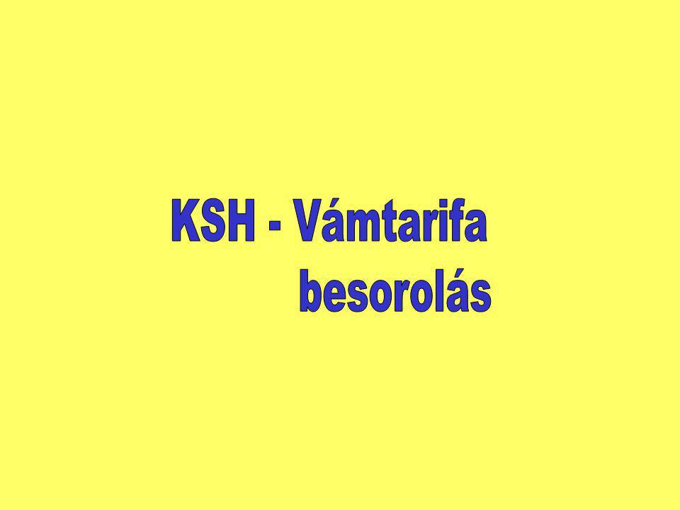KSH - Vámtarifa besorolás