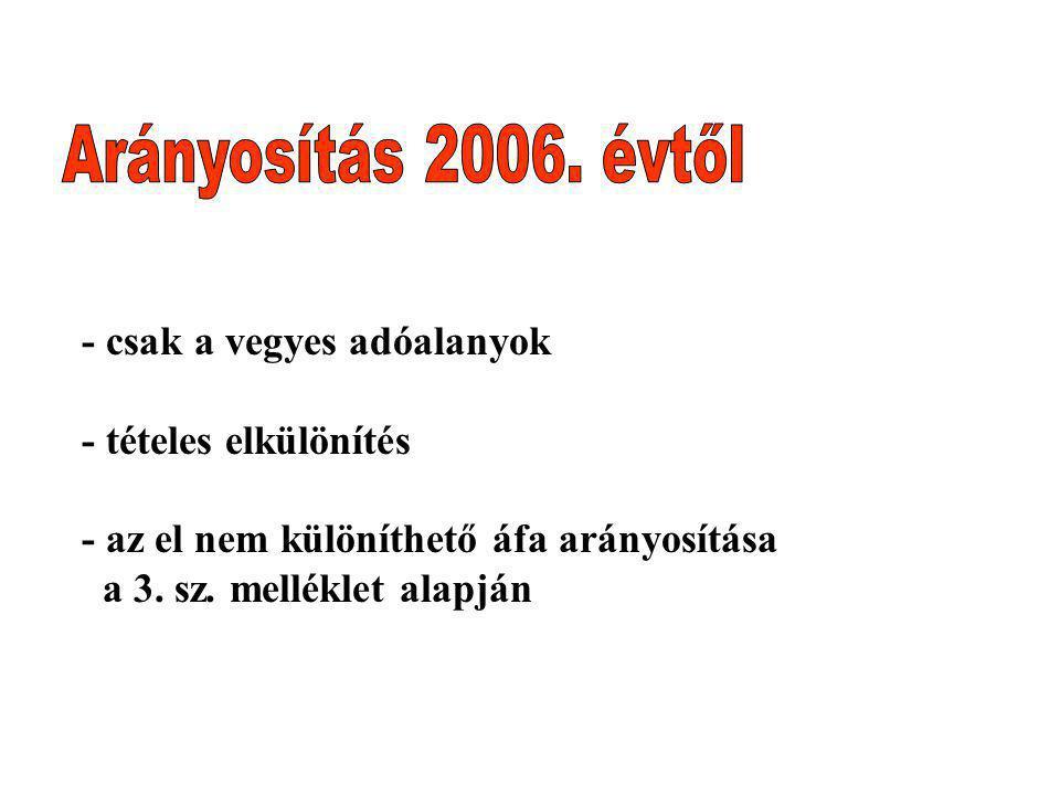 Arányosítás 2006. évtől - csak a vegyes adóalanyok