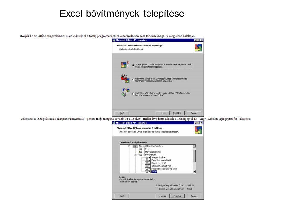 Excel bővítmények telepítése