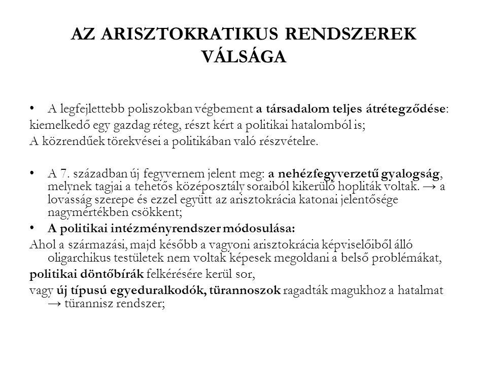 AZ ARISZTOKRATIKUS RENDSZEREK VÁLSÁGA