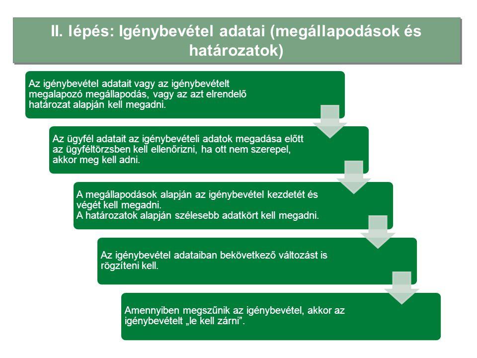II. lépés: Igénybevétel adatai (megállapodások és határozatok)
