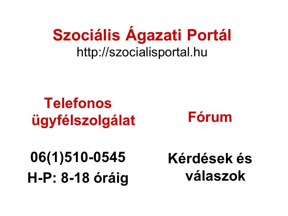 Szociális Ágazati Portál http://szocialisportal.hu